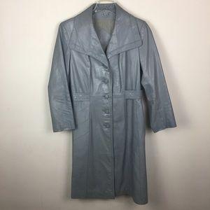 Vintage gray leather midi trench coat